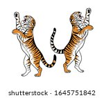 hand drawn aggressive tigers... | Shutterstock .eps vector #1645751842