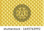 lesbian love icon inside golden ... | Shutterstock .eps vector #1645763992