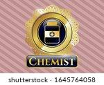 golden badge with medicine... | Shutterstock .eps vector #1645764058