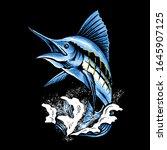 Marlin Fish Art Vector...