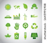 bundle of ecology set icons... | Shutterstock .eps vector #1645991908