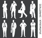 vector set of white silhouettes ... | Shutterstock .eps vector #164607632