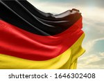 Waving Flag Of Germany In Blue...