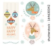 set of christmas lettering and... | Shutterstock .eps vector #164630342