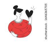 cute cartoon woman holding a...   Shutterstock .eps vector #1646365705