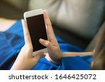 closeup women using blank...   Shutterstock . vector #1646425072