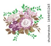flowers and leaflets on a white ... | Shutterstock .eps vector #1646451265