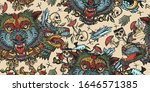 wolf head vintage seamless... | Shutterstock .eps vector #1646571385