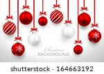 christmas balls with red ribbon ... | Shutterstock .eps vector #164663192