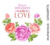 rose garland in holiday. vector ... | Shutterstock .eps vector #164668976