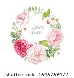 watercolor hand drawn wreath... | Shutterstock . vector #1646769472