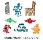 Aztec And Maya Ancient Drawing...