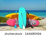 paddle boarding and kayak... | Shutterstock . vector #164680406