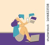 digital information overload.... | Shutterstock .eps vector #1646823538