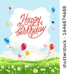 happy birthday summer card.... | Shutterstock .eps vector #1646874688