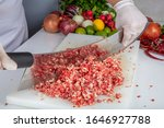 Small photo of meat kebab restaurant chefs, making minced meat in Turkey. Meat mincing is called local minced meat ( satir kiyma ) or armor minced (zirh kiyma).