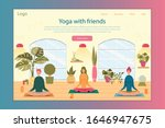 yoga with friends vector...