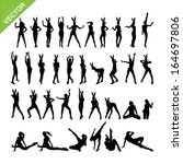 Sexy women adn dancing silhouettes vector set 13