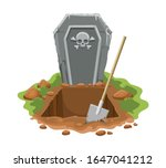 cemetery digged grave hole.... | Shutterstock .eps vector #1647041212