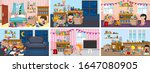 six scenes with children doing... | Shutterstock .eps vector #1647080905