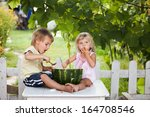 happy boy and little girl with... | Shutterstock . vector #164708546