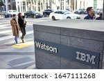 Small photo of San Francisco, CA, USA - Feb 8, 2020: The IBM Watson sign outside its San Francisco office. Watson is a question-answering computer system capable of answering questions posed in natural language.