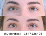 Small photo of Woman's lashes after and before beauty procedure of eyelash lifting and laminating in beauty clinic, eyes closeup. Young woman in cosmetology clinic with open eyes. Lift of lash and eyelash.