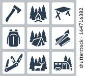 vector camping icons set  axe ... | Shutterstock .eps vector #164716382