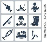 vector fishing icons set  fish...