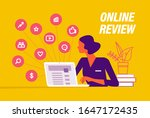 online review concept. young...