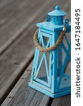 A Pale Turquoise Blue Rustic...