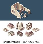 Broken Houses. Isometric Set Of ...