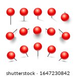 set of red push pins. pins... | Shutterstock .eps vector #1647230842