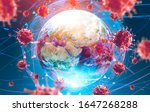 Asian flu ncov coronavirus over Earth background and its blurry hologram. Concept of cure search and spreading disease. 3d rendering toned image. Elements of this image furnished by NASA - stock photo