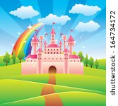 cartoon fairy tale castle... | Shutterstock .eps vector #164734172