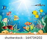 Underwater world with reefs and tropical fishes vector illustration - stock vector