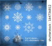 snowflake winter set. vector... | Shutterstock .eps vector #164736812