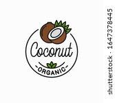 coconut fruit logo. round... | Shutterstock .eps vector #1647378445