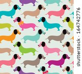 Seamless kids retro dachshund puppy illustration background dog pattern in vector - stock vector