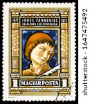 Small photo of MOSCOW, RUSSIA - NOVEMBER 10, 2019: Postage stamp printed in Hungary shows Janus Pannonius (1434-1472) poet, Personalities serie, circa 1972