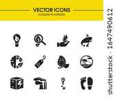 eco icons set with biosphere ...