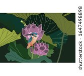 Kingfisher On The Lotus Flower...