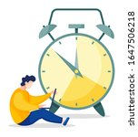 man sits in front of clock and...   Shutterstock .eps vector #1647506218