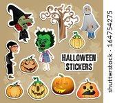 halloween stickers   Shutterstock .eps vector #164754275