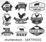 Stock vector collection of premium beef chicken and pork labels and design elements in vintage style 164754332