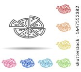 pizza in multi color style icon....