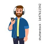 happy young man holding a phone ... | Shutterstock .eps vector #1647611542