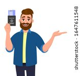 hipster young man showing...   Shutterstock .eps vector #1647611548