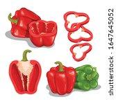 cartoon bell peppers set. red... | Shutterstock .eps vector #1647645052