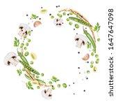 composition of fresh green peas ... | Shutterstock .eps vector #1647647098